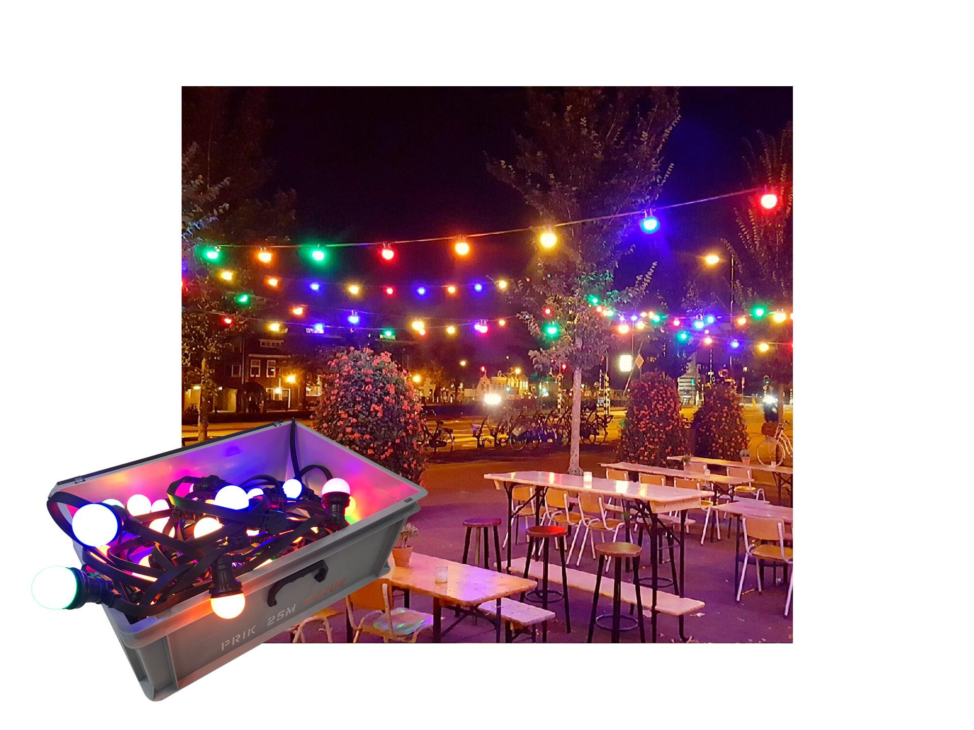 Master Partys prikkabel 25m gekleurd huren