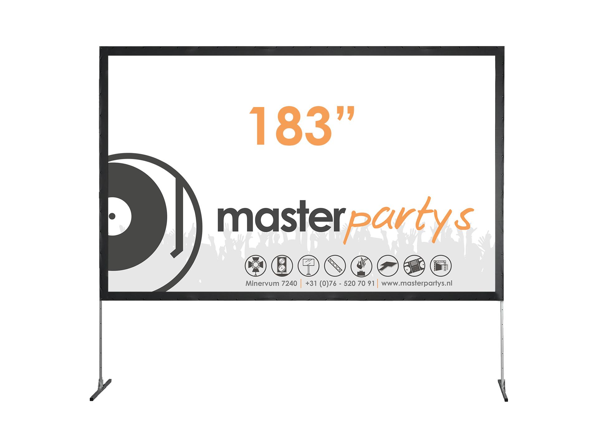 "Master Partys beamerscherm 183"" huren"