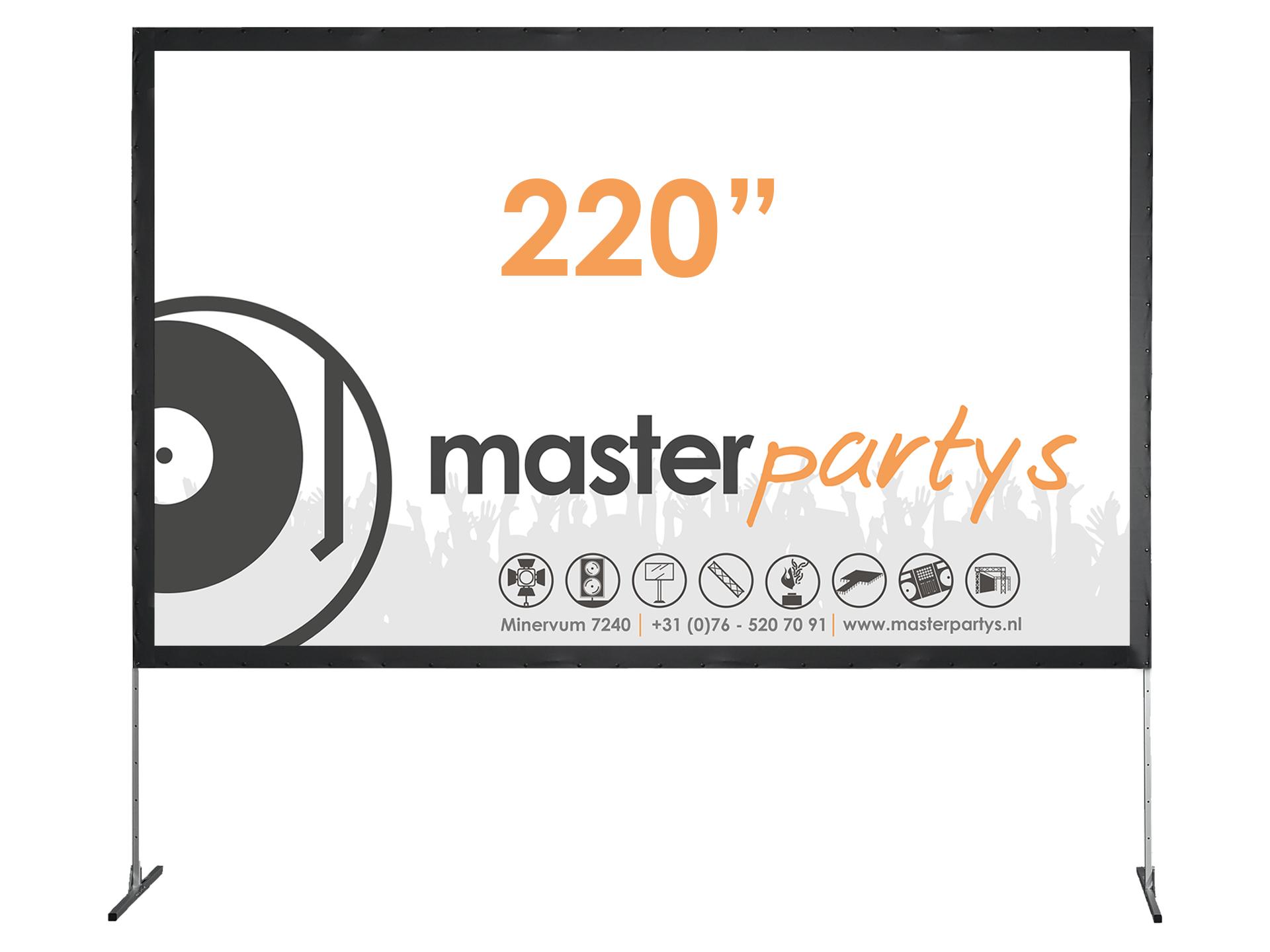 "Master Partys beamerscherm 220"" huren"